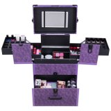 Rolling Jewelry Makeup Case Aluminum Portable Lackable Storage Hb-2022