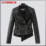 New Arrived Black PU Jacket for Women Outer Wear