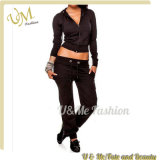 Sexy Women 100% Polyester Long Sleeve Zip up Tracksuits