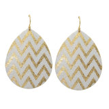 Gold Plated Scrub Wave Pattern Water Drop Earrings