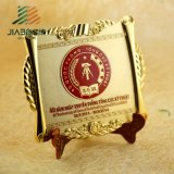 Wholesale Engraved Metal Souvenir Plate with Wooden Base
