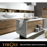Australian 2 PAC High Gloss Project Kitchen Cabinets White Mixing with Laminate TV-0087
