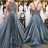 Gray Sequins Evening Party Gown Full A-Line Party Prom Dresses E29681