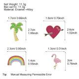 Metal Badge Enamel Coconut Tree Flamingo Heart Brooch Button Jewelry Gift