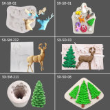 Santa Claus Elk Pine Sleigh Fondant Cake Chocolate Fondant Silicone DIY Cake Mould Chocolate Tool Cake Silicone Mold