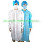Disposable Non Woven Long Sleeve Protective Lab Coat with Collar