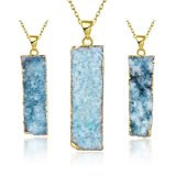 Fashion Jewelry Cyan Natural Crycal Rectangle Pendant Gold Necklace