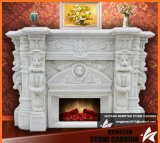 Natural White Carrara Marble Fireplace Surround with Lions Carving