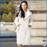 The White Fashion Lapel with Button for Ladies Down Jacket