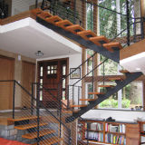 Outdoor Solid Wood Straight Staircase with Glass Balustrade