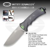 """Overall 9.65"""" Fixed Blade Knife D2 Grey Ti-Coated Blade and Twice Injection Handle"""
