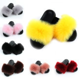 Custom Soft Beautiful Cheap Luxury Indoor Natural Faux Plush Fox Fur Fancy Casual Slippers for Women