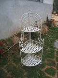 Antique White Iron Garden Flower Shelf Rack Wholesale Plant Stand / Flower Shelf for Outdoor or Greenhouse, Three Tiers Product