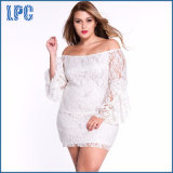 Custom New Designs Lace Fringe Trumpet Fashionable Long Sleeve XL Size Fat Women Dress