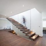 Custom Modern Fancy Design Glass Railing Wood Mono Stringer Floating Open Riser Staircase Design