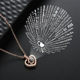 Wholesale 2018 Top Design Hot Sale Women Fashion Necklaces Jewelry Accessories I Love You in 100 Languages Heart Pendant Projection Necklace