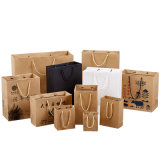 China Competitive Price Elegant Customized Brand Logo Luxury Wine Boutique Shopping White Paper Gift Bags with Ribbon Handles