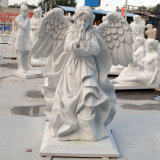 Stone Sculpture in Natural White Marble Angel Girl Statue with Wings