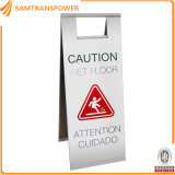 Stainless Steel A Shape Printable Traffic Warning Floor Sign L300W200h600mm
