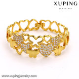 51672 Fashion Alloy Heart Shaped CZ 24k Gold Bangle for Lover's Gift