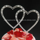 Vintage Crystal Double Heart Rhinestone Wedding Cake Topper for Party Decoration