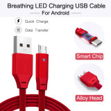 Factory Price 2.4A Charging Data Cable with Breathing Lamp for Android