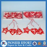Wooden Red Star Heart and Mini-Tree for Wall Decor