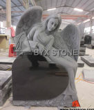 Shanxi Black Granite Reclining Angel Cemetery Tombstones with Heart