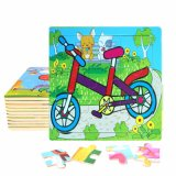 Factory Direct Hot 3D DIY Chindlren Cartoon Wooden Frame Puzzle Educational Toys Bike