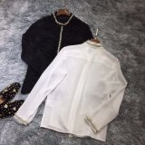 The Round Bead Is Decorated with Silk Long Sleeve Fashion Shirt Blouse Customized