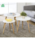 Homury Coffee Table Round Set of 3 End Side Table Wood Nesting Corner Table Sofa Table Tea Table, White