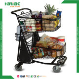 Supermarket Double Layer Basket Grocery Shopping Cart