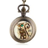 Bronze Vintage Steampunk Cat Locket Necklace Pocket Watch Pendant Gift