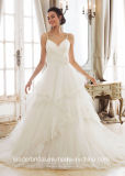 Spaghetti Straps Bridal Dresses Backless Puffy Lace Tulle Wedding Gowns Z2046