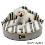 Sponge Circle Crown Dog Bed PU Leather Pet Round Cushion