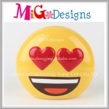 Low Price Ceramic Heart Eyes Emoji Money Bank for Gift