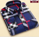 Men's Cotton Polyester Woven Twill Brushed Plaid Shirts