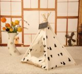 Soft Pet Tent Outdoor Wooden Teepee Durable Foldable Small Dog and Cat Tent