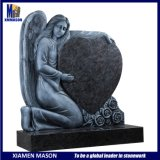 Customized Antique Angel Carving Heart Shaped Granite Headstone