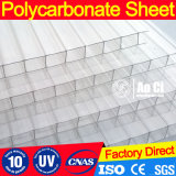 6mm Twin Walls Single UV Stablized Coating Polycarbonate Sunshade Hollow Sheets for Skylight