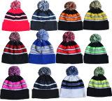 Custom Striped Winter Beanie Knitted Hat with POM-POM
