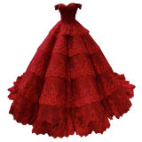 Red Prom Gown Lace Puffy Bridal Ball Gowns Wine Color Accent Wedding Dresses 2021 E1914