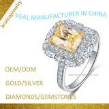 Luxury Diamond Wedding Ring Fashion 925 Silver Finger Ring Custom Gold Jewellery with Gemstone for Engagement