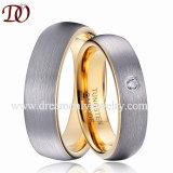 Matte Finish Gold Inside Tungsten Ring CZ