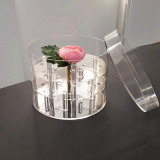 Clear 21 Rose Display Round Acrylic Flower Box with Lid