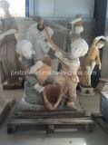 Marble Carved Garden Decor Children Kids Sculpture