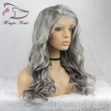 Grey Color Lace Front Human Hair Wigs Virgin Brazilian Remy Hair Wavy Lace Frontal Wig Glueless with Pre Plucked