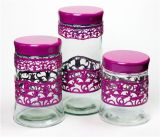 Glass Jar Set with Metal Color Coat