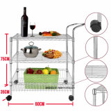 Durable 3-Tier Chrome Kitchen Food Fruits Metal Wire Shelf Cart