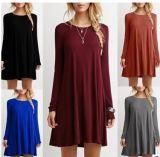 Ladies' Plain Simple Casual Long Sleeve T-Shirt Loose Fit Dresses